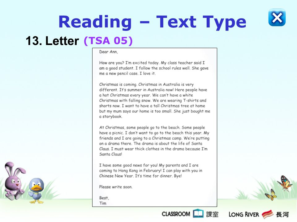Reading – Text Type 13. Letter (TSA 05)