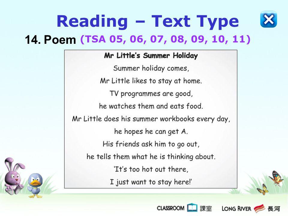 Reading – Text Type 14. Poem (TSA 05, 06, 07, 08, 09, 10, 11)
