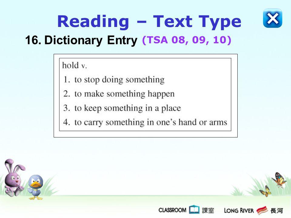 Reading – Text Type 16. Dictionary Entry (TSA 08, 09, 10)