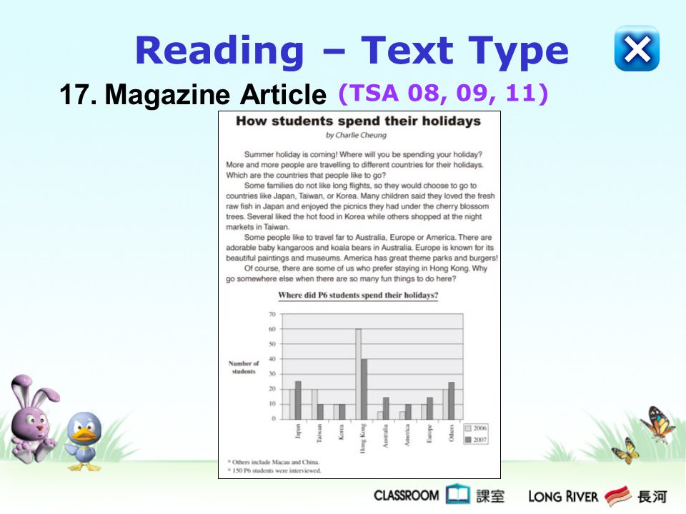 Reading – Text Type 17. Magazine Article (TSA 08, 09, 11)