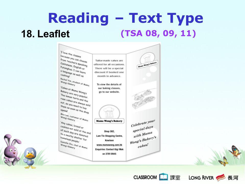 Reading – Text Type 18. Leaflet (TSA 08, 09, 11)