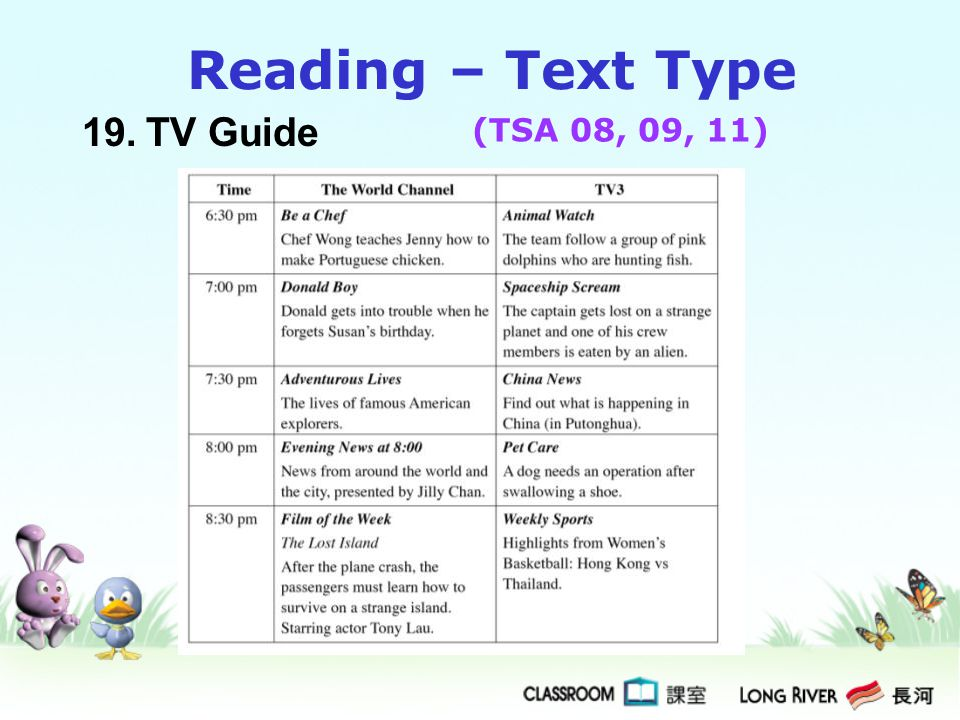 Reading – Text Type 19. TV Guide (TSA 08, 09, 11)