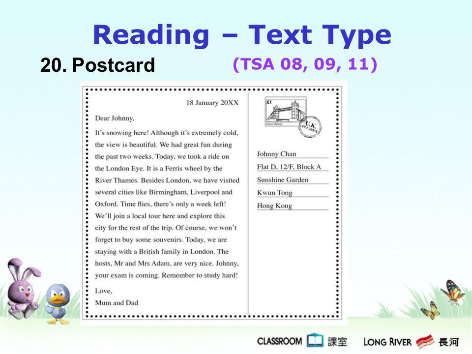 Reading – Text Type 20. Postcard (TSA 08, 09, 11)