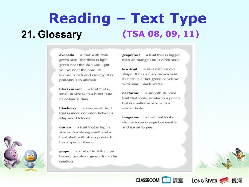 Reading – Text Type 21. Glossary (TSA 08, 09, 11)