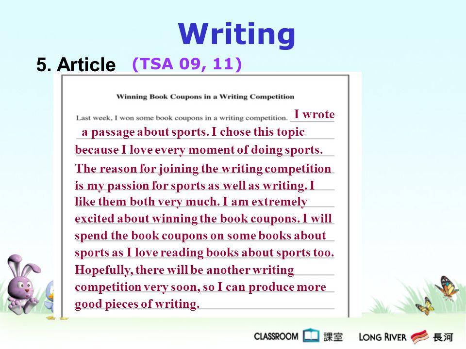 Writing 5. Article (TSA 09, 11) I wrote