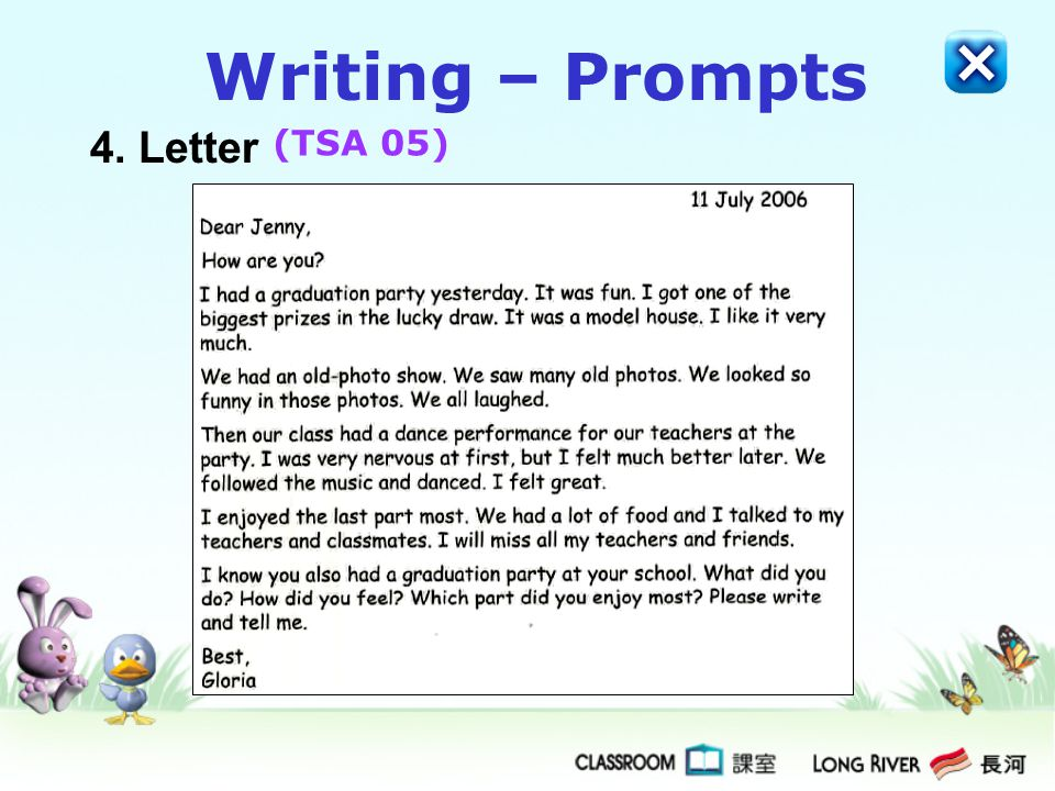 Writing – Prompts 4. Letter (TSA 05)