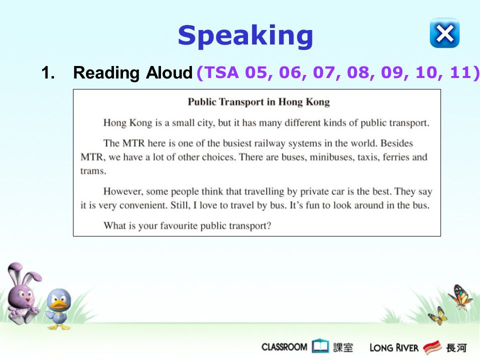 Speaking Reading Aloud (TSA 05, 06, 07, 08, 09, 10, 11)