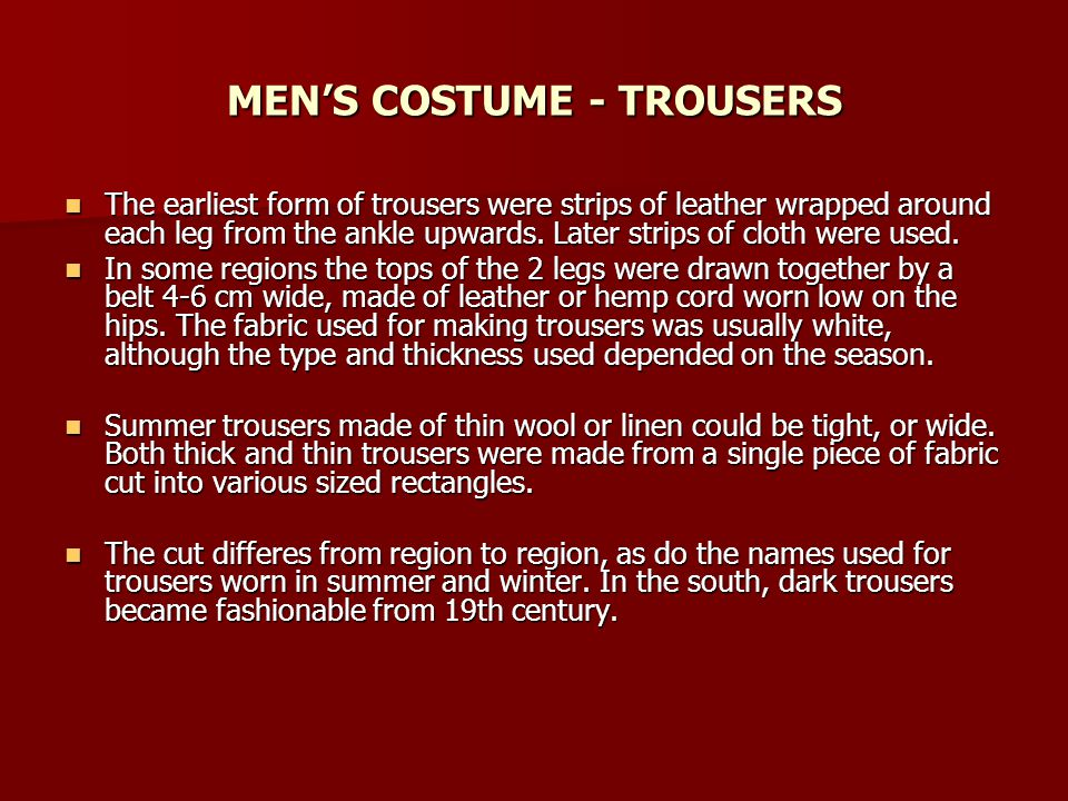 MEN'S COSTUME - TROUSERS