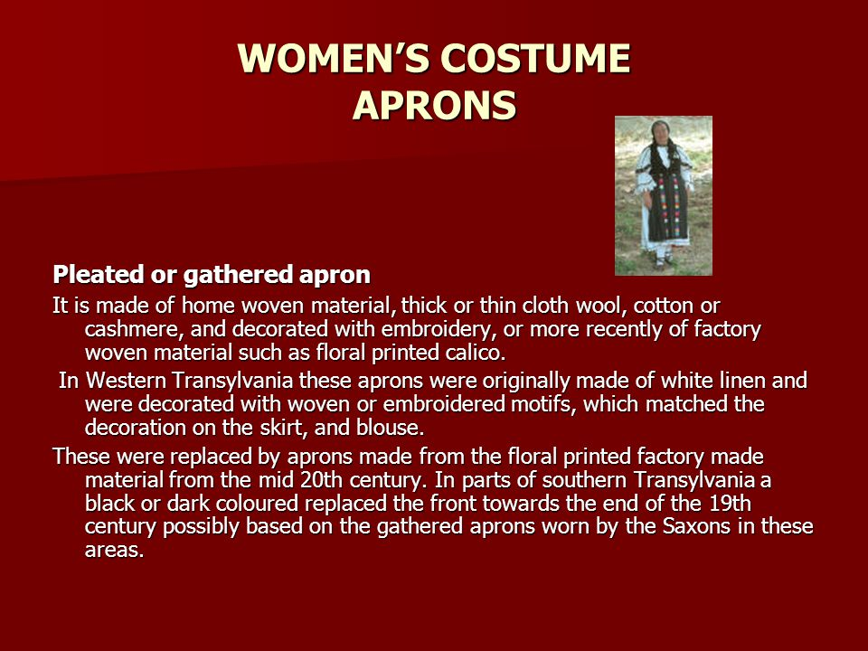 WOMEN'S COSTUME APRONS