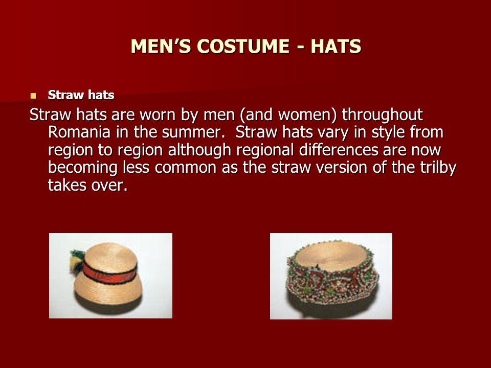 MEN'S COSTUME - HATS Straw hats.