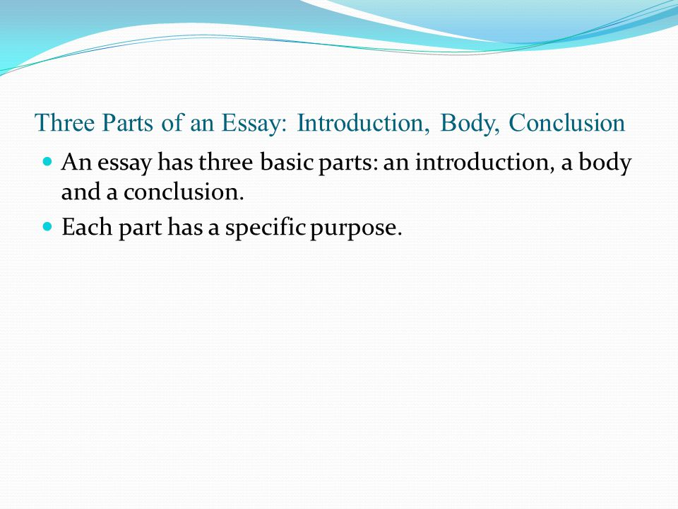 Three Parts of an Essay: Introduction, Body, Conclusion