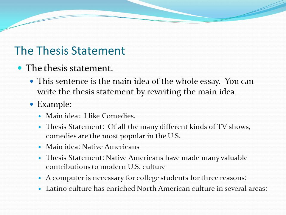 body of thesis statement The thesis statement is the sentence that states the main idea of a writing assignment in the body of your gustavus adolphus college 800 west college.