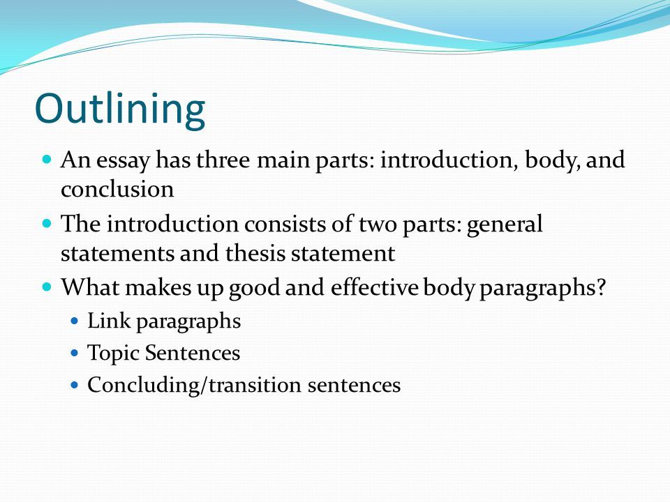 essay body conclusion The term body refers to all paragraphs after the introduction and before the conclusion the metaphor that comes to mind most often in describing this structure is the sandwich: the introductory and concluding paragraphs represent slices of bread while the body paragraphs are the meat and cheese of the essay, so to speak.