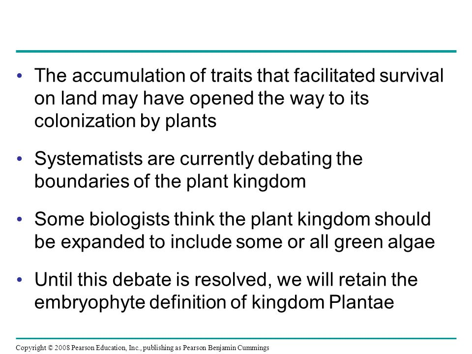 The accumulation of traits that facilitated survival on land may have opened the way to its colonization by plants
