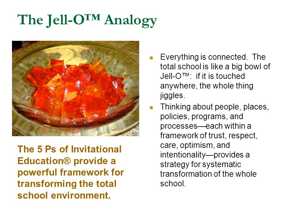 The Jell-O™ Analogy Everything is connected. The total school is like a big bowl of Jell-O™: if it is touched anywhere, the whole thing jiggles.