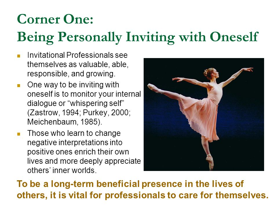 Corner One: Being Personally Inviting with Oneself