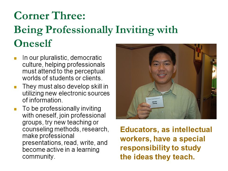 Corner Three: Being Professionally Inviting with Oneself