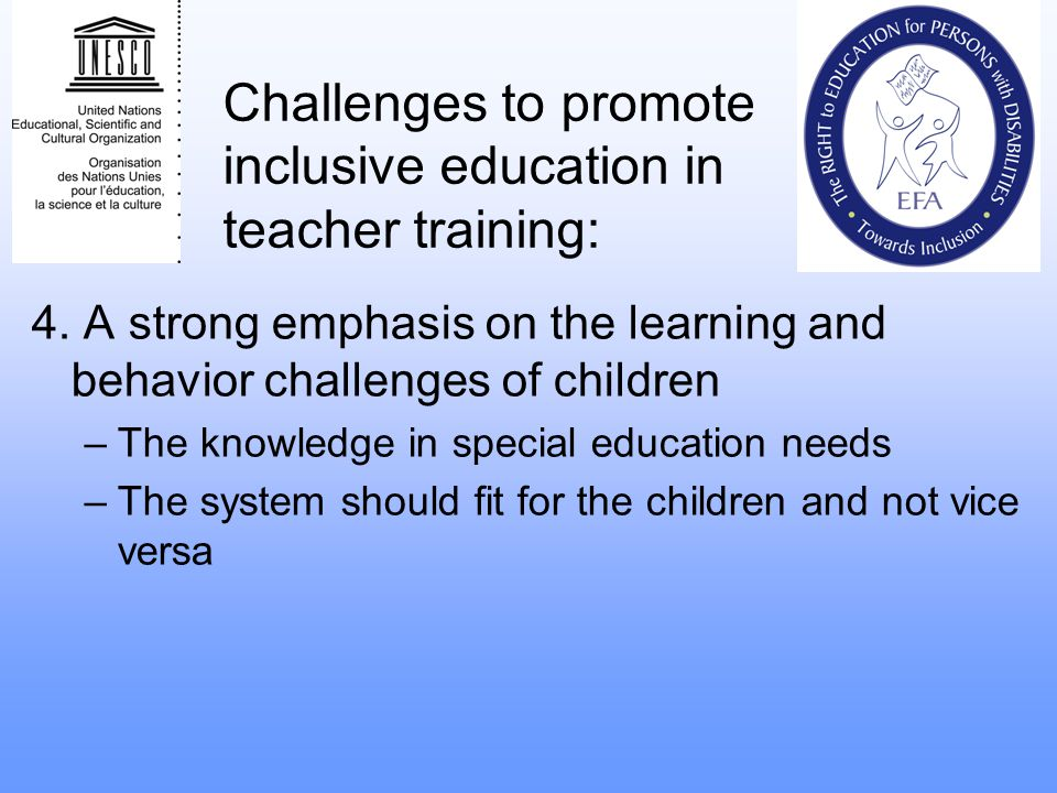 Challenges to promote inclusive education in teacher training: