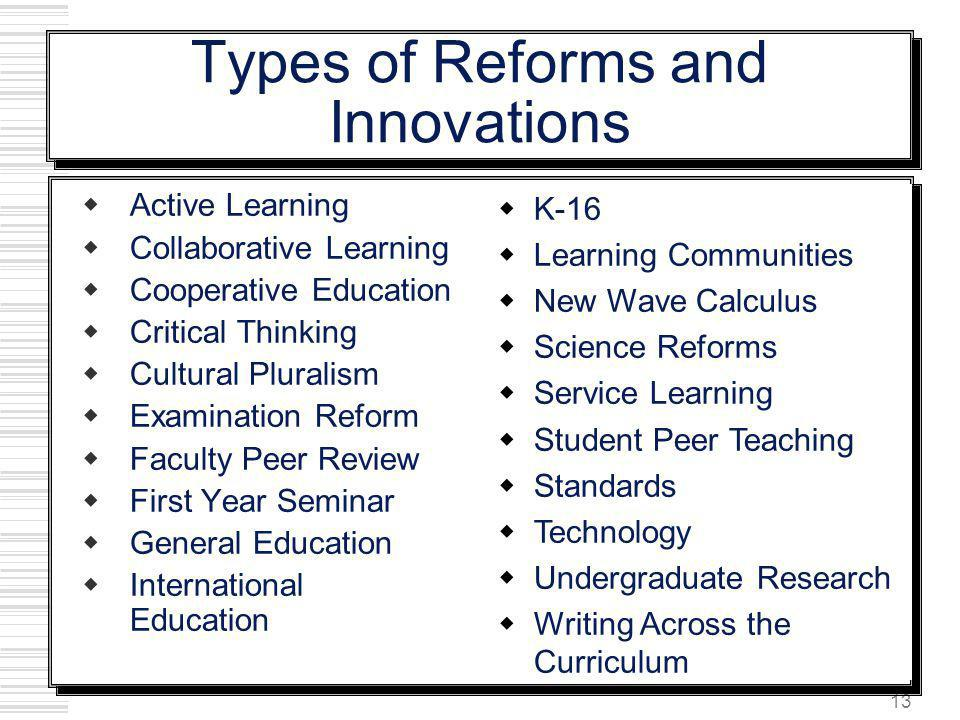Types of Reforms and Innovations