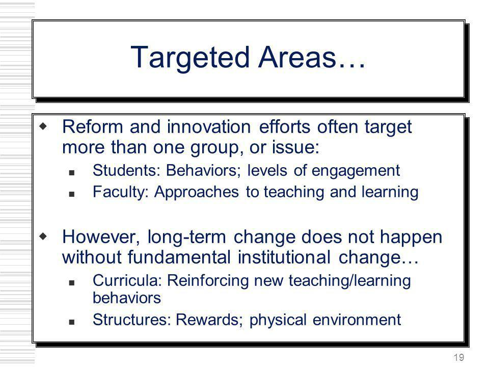 Targeted Areas… Reform and innovation efforts often target more than one group, or issue: Students: Behaviors; levels of engagement.