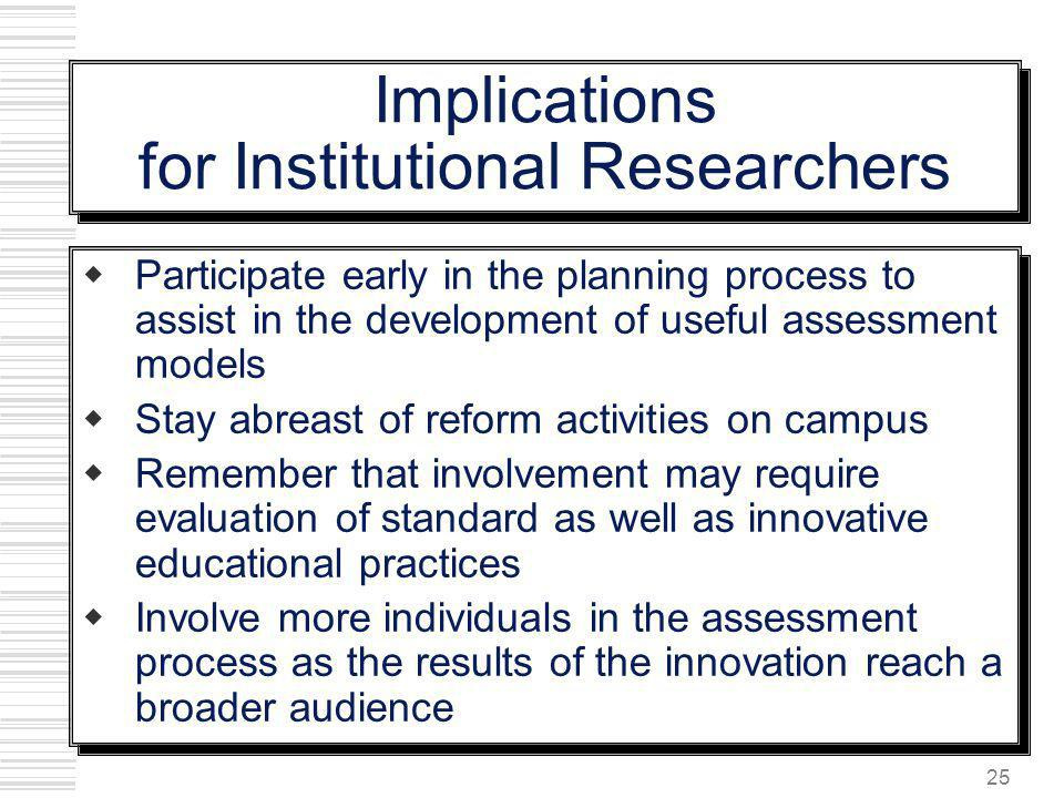 Implications for Institutional Researchers