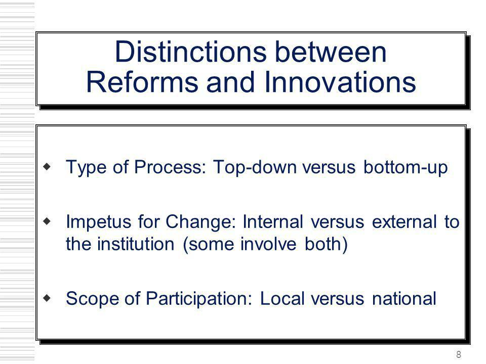 Distinctions between Reforms and Innovations