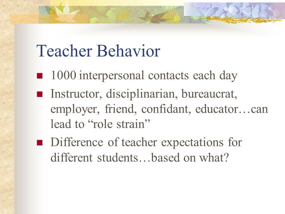 Teacher Behavior 1000 interpersonal contacts each day