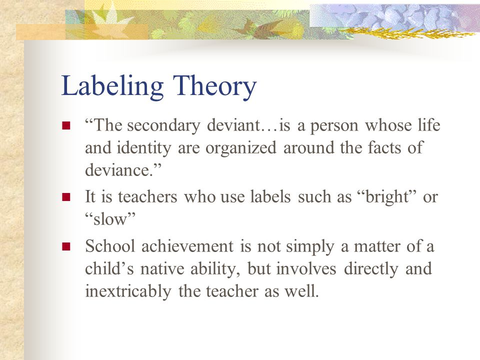 Labeling Theory The secondary deviant…is a person whose life and identity are organized around the facts of deviance.