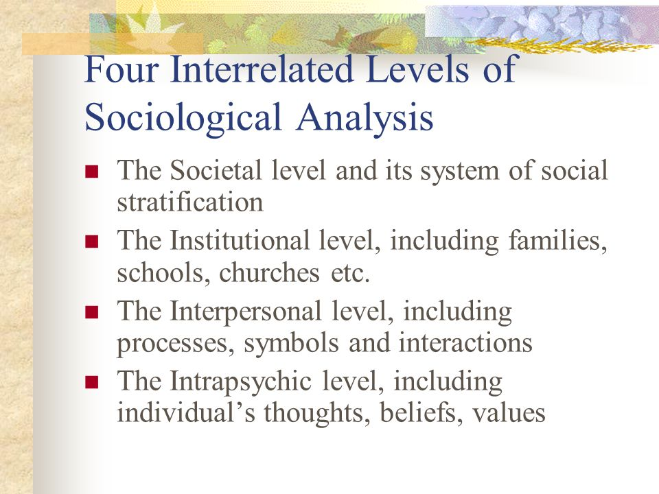 Four Interrelated Levels of Sociological Analysis
