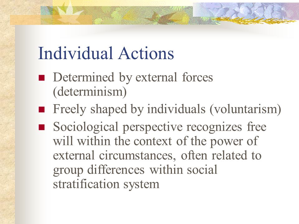 Individual Actions Determined by external forces (determinism)