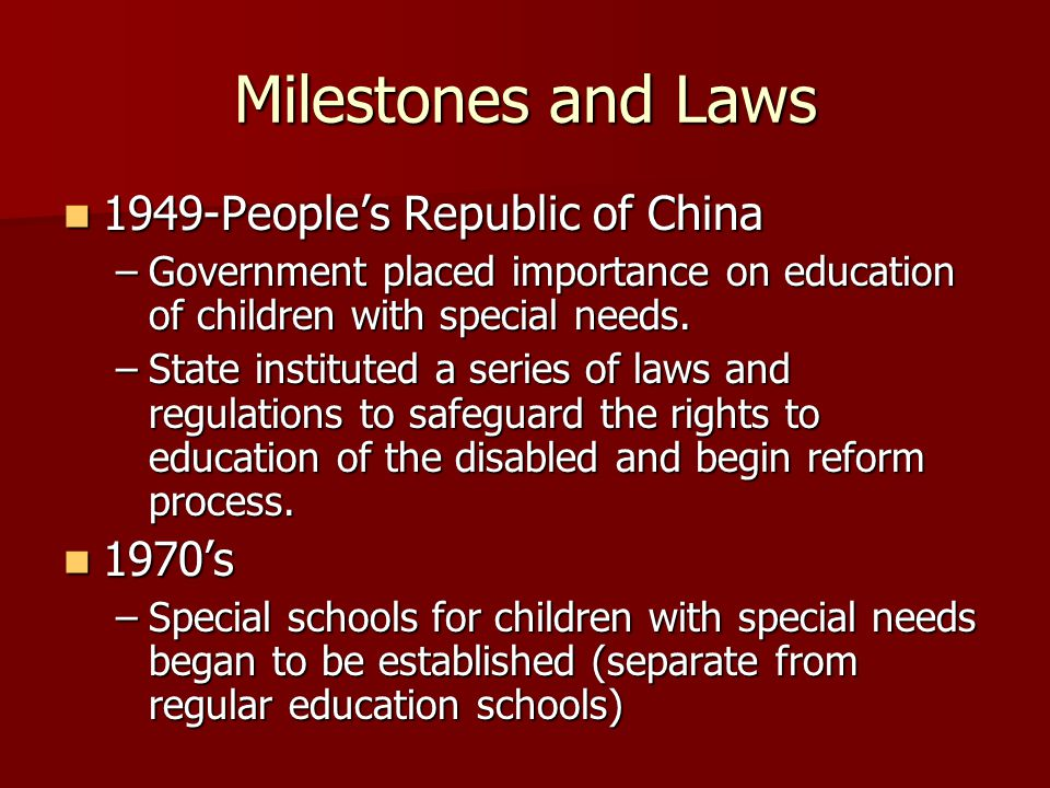 Milestones and Laws 1949-People's Republic of China 1970's
