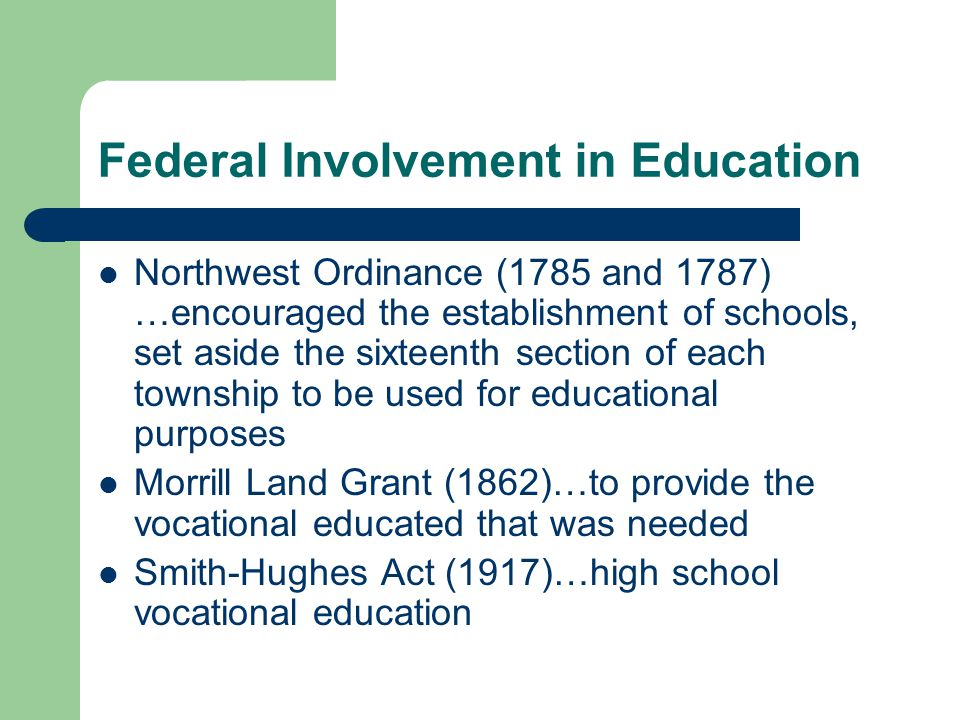 Federal Involvement in Education