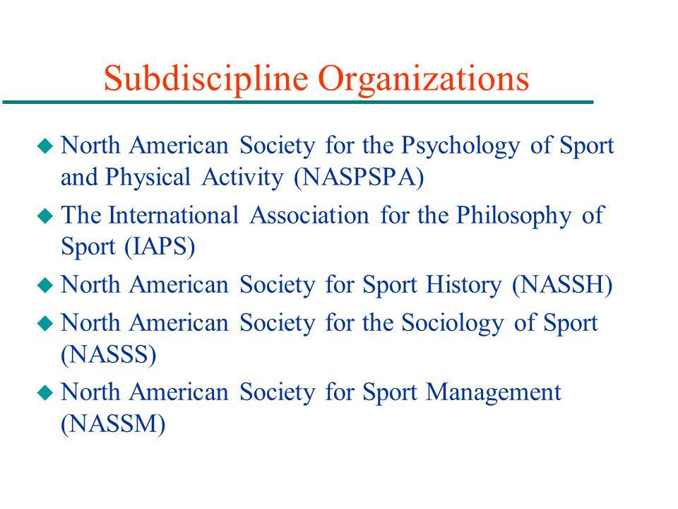 Subdiscipline Organizations