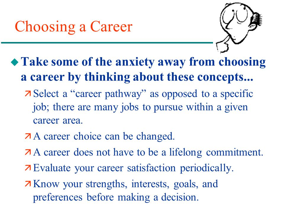 Choosing a Career Take some of the anxiety away from choosing a career by thinking about these concepts...