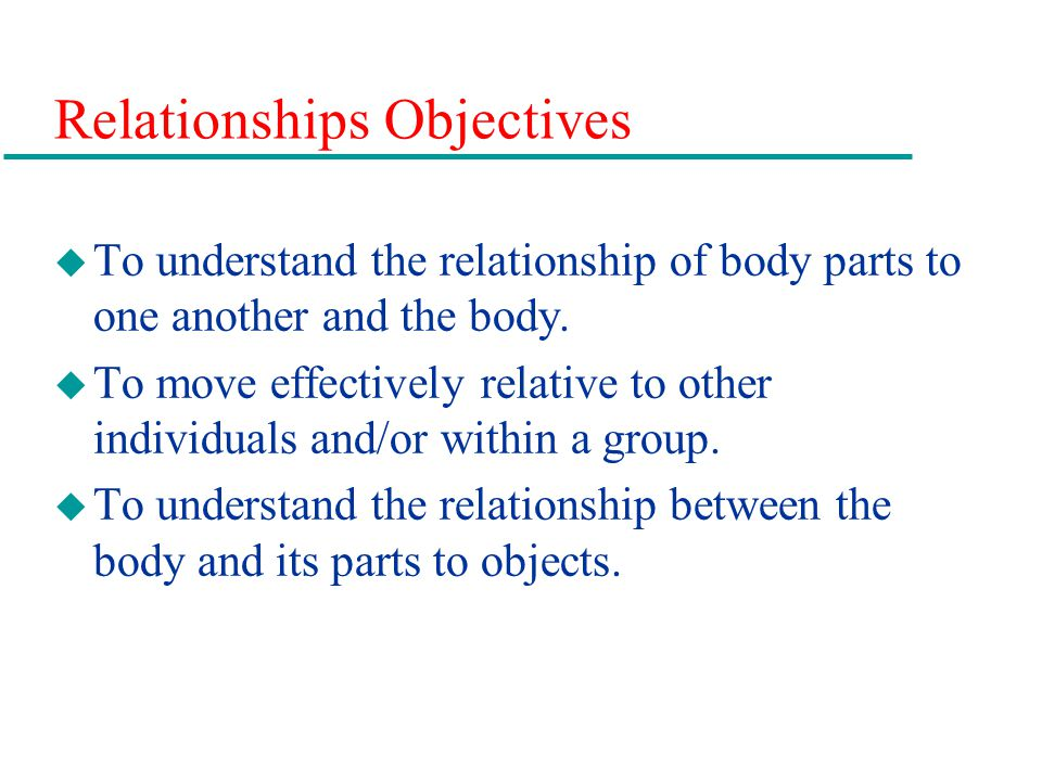 Relationships Objectives