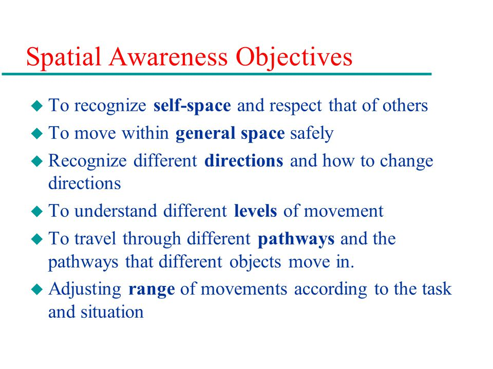Spatial Awareness Objectives
