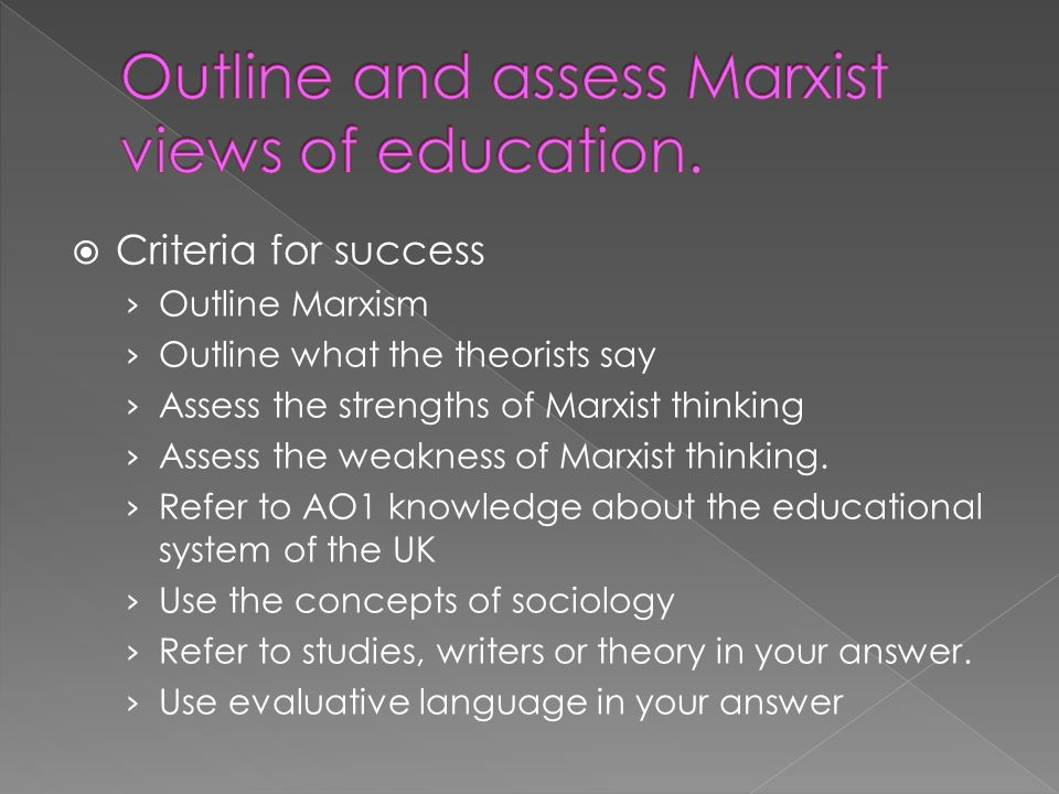 Outline and assess Marxist views of education.