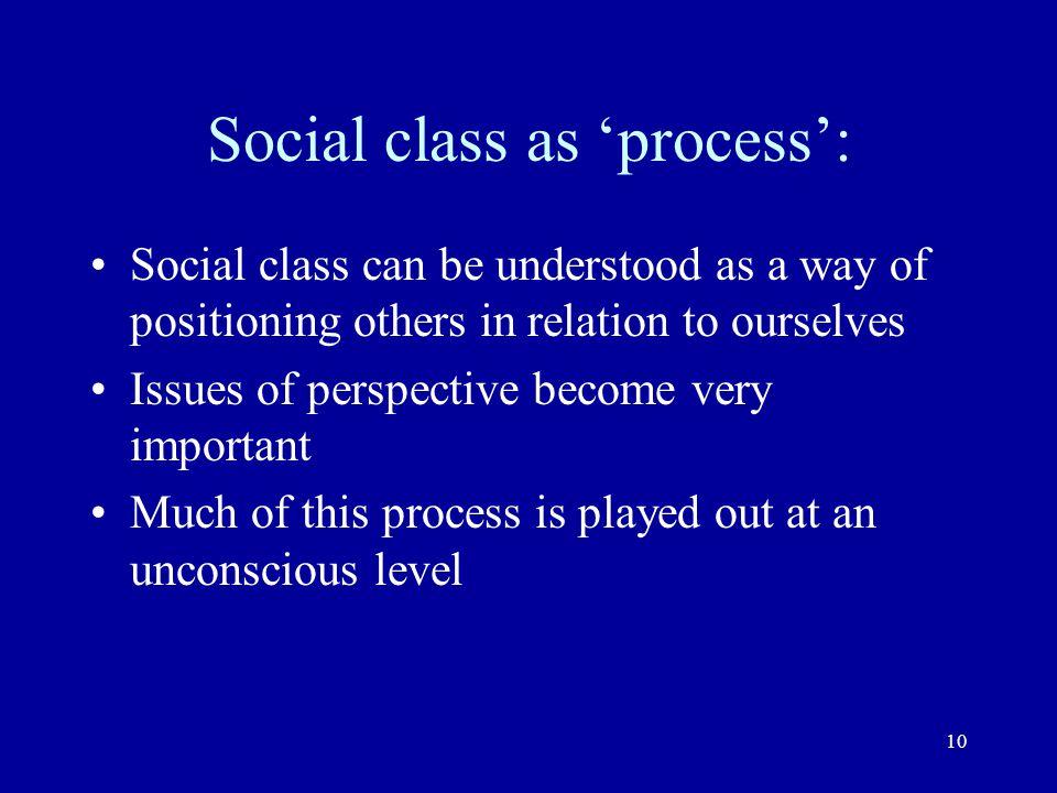 Social class as 'process':