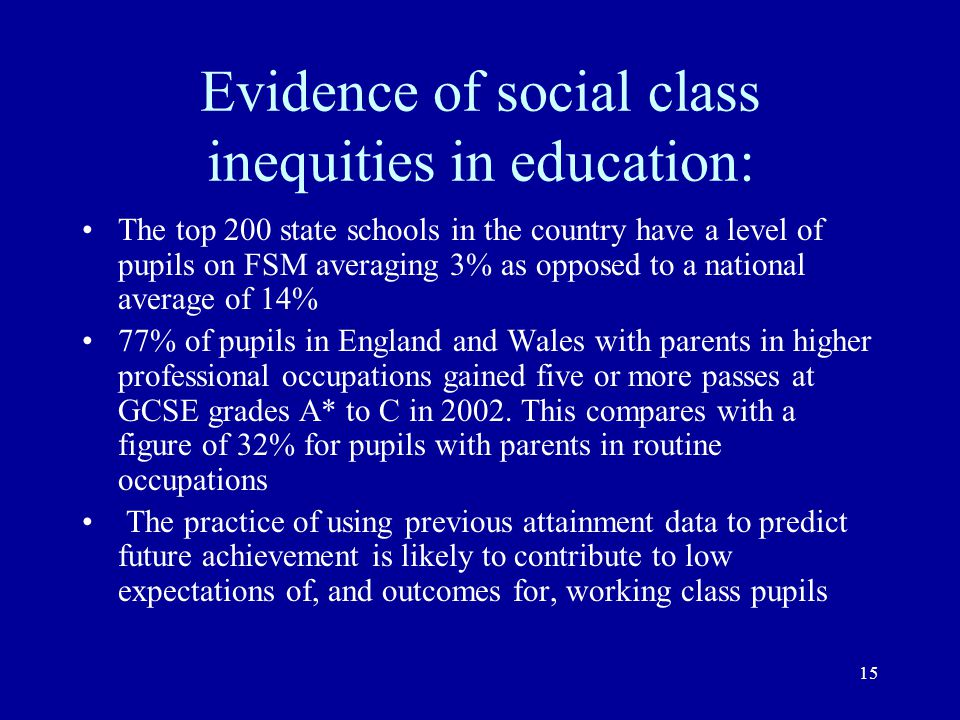 Evidence of social class inequities in education: