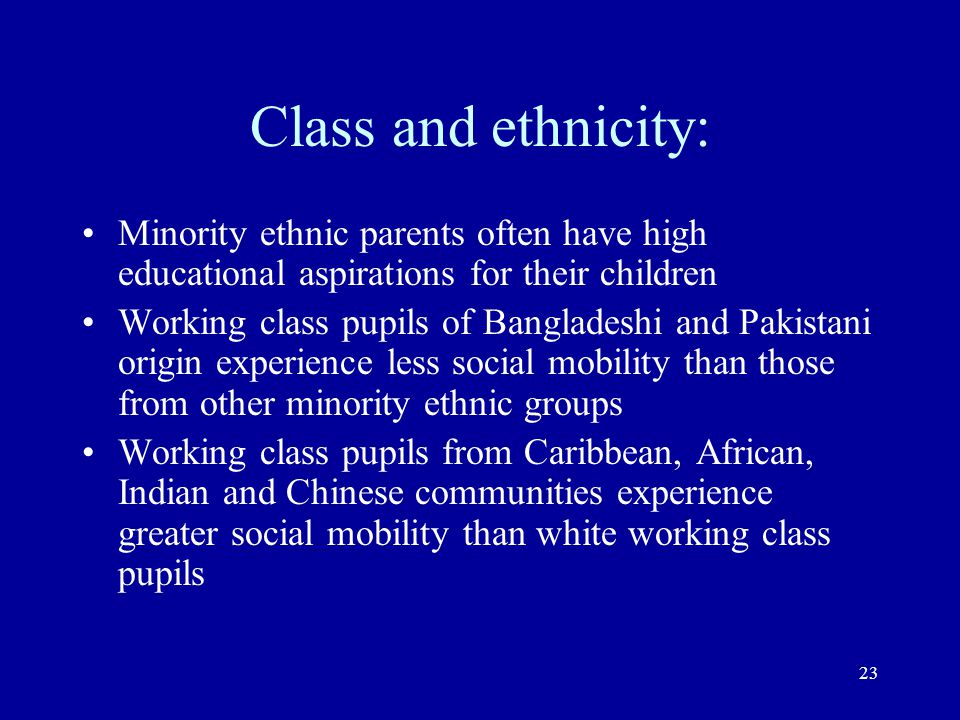 Class and ethnicity: Minority ethnic parents often have high educational aspirations for their children.