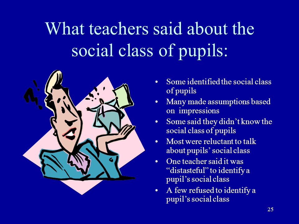 What teachers said about the social class of pupils: