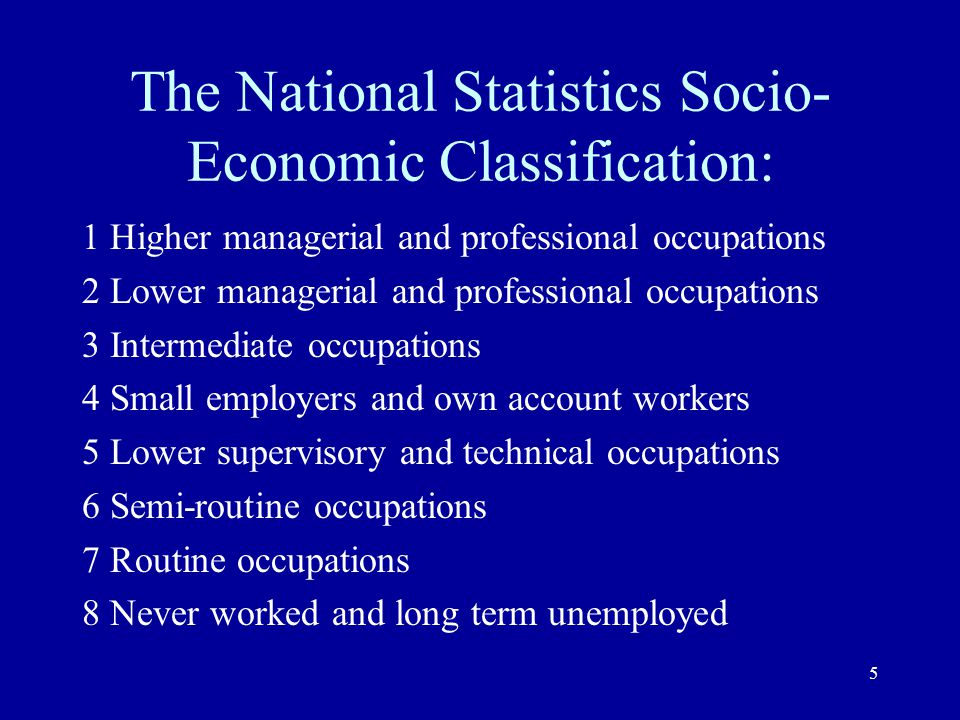The National Statistics Socio-Economic Classification: