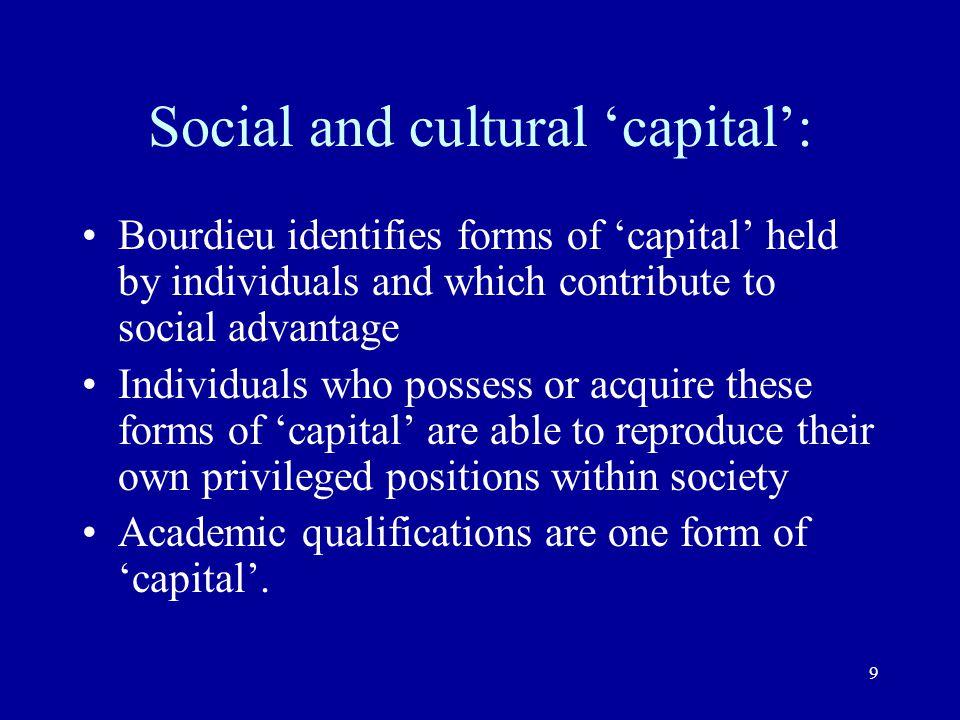 Social and cultural 'capital':