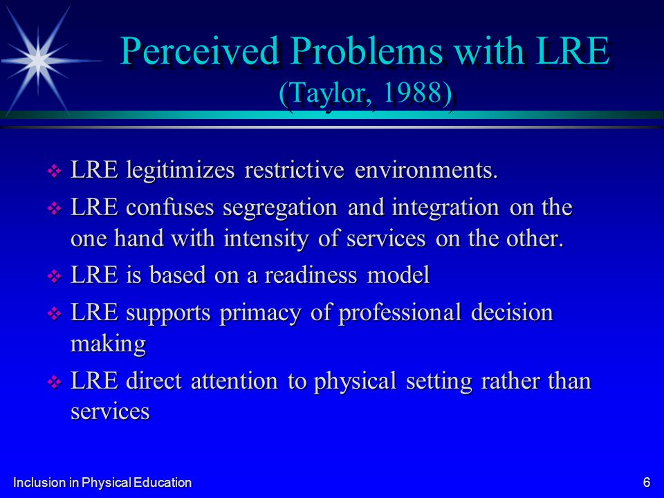Perceived Problems with LRE (Taylor, 1988)