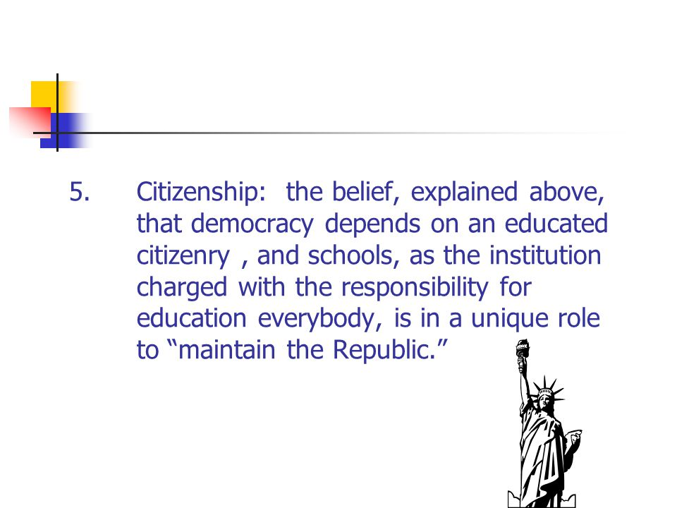 5. Citizenship: the belief, explained above,