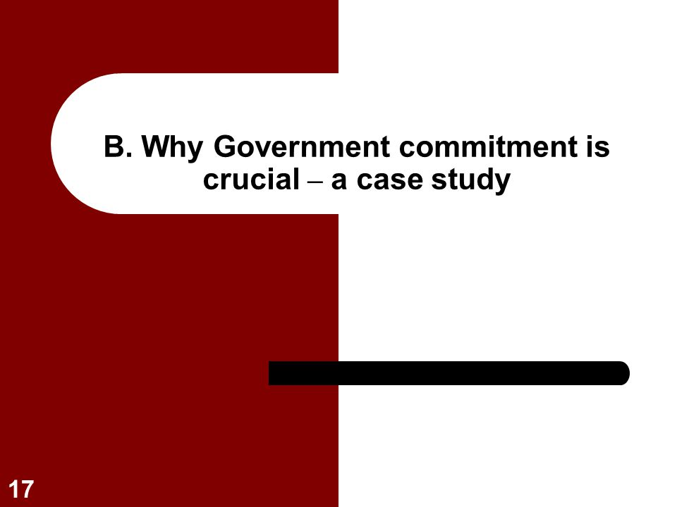 B. Why Government commitment is crucial – a case study
