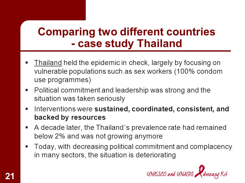 Comparing two different countries - case study Thailand