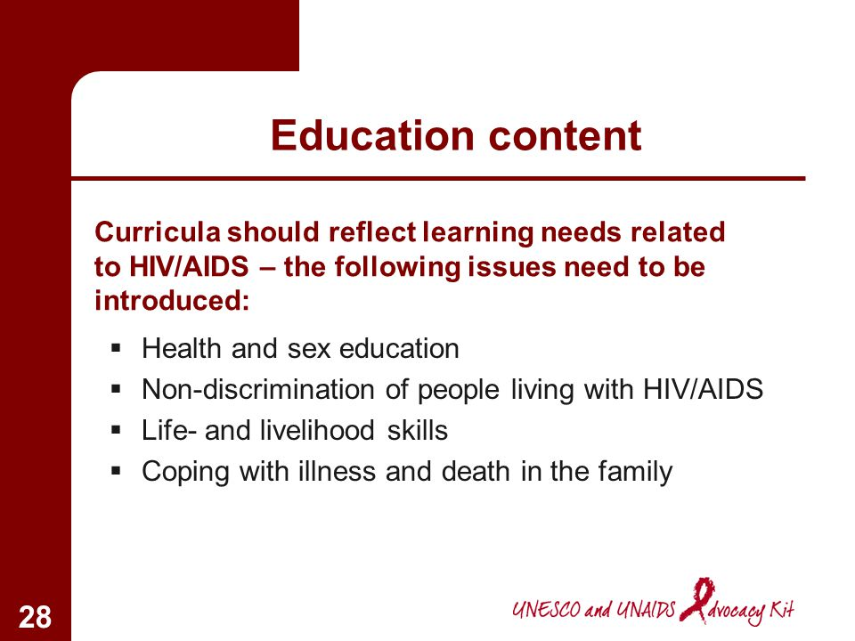 Education content Curricula should reflect learning needs related to HIV/AIDS – the following issues need to be introduced: