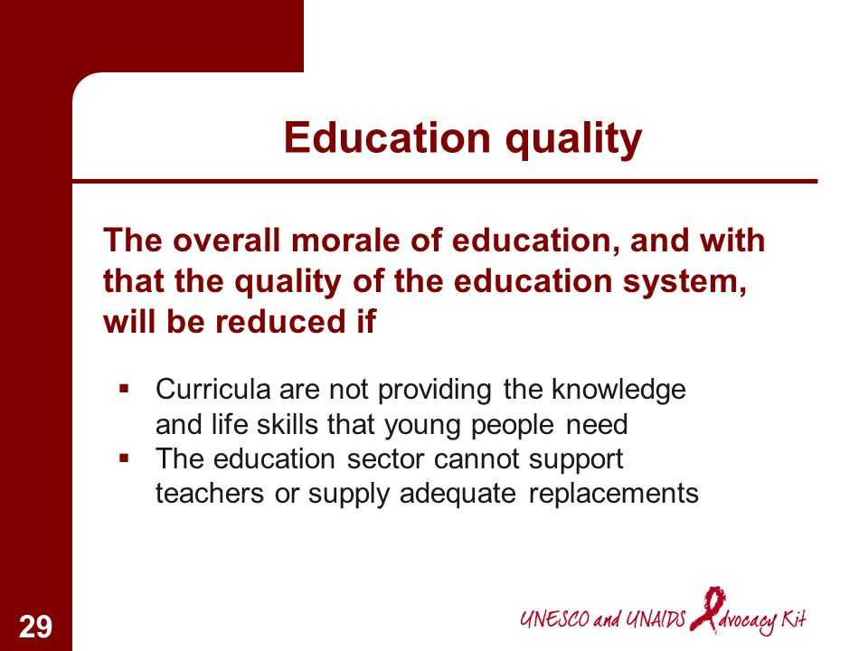 Education quality The overall morale of education, and with that the quality of the education system, will be reduced if.