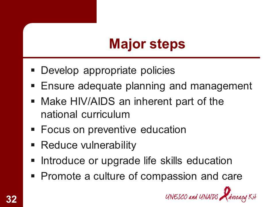 Major steps Develop appropriate policies